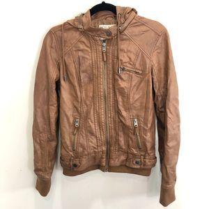 Garage Vegan Leather Hooded Bomber Jacket Small